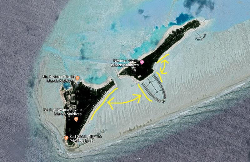 モルディブの水上コテージの配置や場所に注意